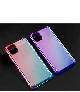 2020 горячее надувательство Anti-падения Радуга градиент цвета Soft Clear ТПУ телефон чехол для iPhone12mini 12pro 11 Pro XR XS Max X Прозрачный телефон Обложка