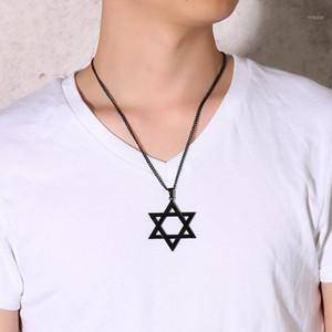 ZORCVENS 2020 NOUVEAUX HOMMES CLASSIC STAR DE DAVID Collier pendentif en or noir Couleur d'argent en acier inoxydable Israël bijoux juif1