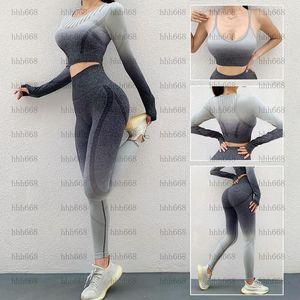 Caderas ajustadas para mujer Cintura Alta Cintura Sin fisuras Pantalones de yoga de forma fitness Winter New degradado Color Beauty Back Sports Sujetador Set