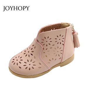 JOYHOPY طفل فتاة الأحذية الاطفال الأطفال PU الجلود والأحذية الجوف التدريجي بنات الأميرة ربيع الخريف الاطفال ShoesX1024