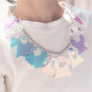 Pendentif Colliers 2021 Iridescence Collier de fantômes pour femmes Halloween Multirseen Chaîne courte à chaîne exagérée acrylique bijoux1