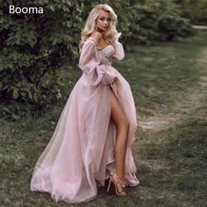 Booma rosa Brautkleider Strand Boho von der Schulter Bridal Kleid Schatz Elegante Prinzessin Hochzeits-Partykleid Plus Größe 201114