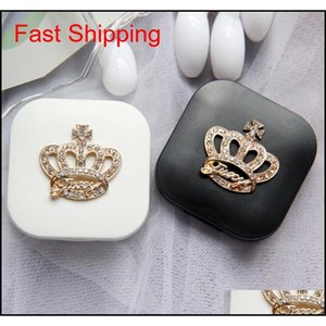 1 PZ Contact Lens Box Travel Portable Contact Lens Case Kit Rhinestone Crown Box Storage JGGUS