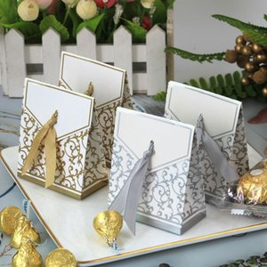 New 10pcs Creative Golden Silver Ribbon Wedding Favours Party Gift Candy Paper Box Cookie Candy gift bags Event Party Supplies T3I51715