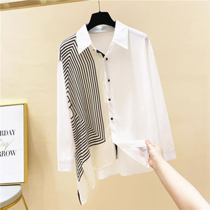 Striped Silk Scarf Splicing Full Shirt Women's Autumn 2020 New Loose Turn Down Collar Blouse Women