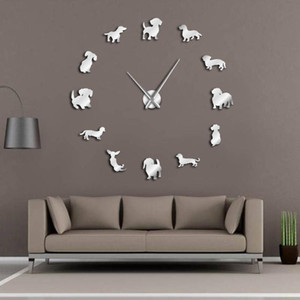 DIY Large Clock Wall WatchDachshund Wall Art Wiener-Dog Puppy Dog Pet Frameless Giant Clock With Mirror Effect Sausage Dog