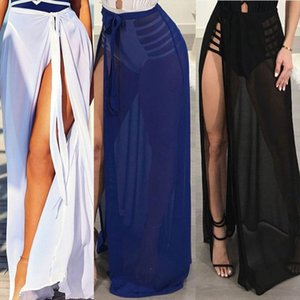 Summer Women Sexy Bikini Cover Up High Cut Split Sheer Mesh See Through Swimwear Beach Drop Shipping