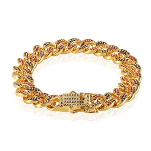 USENSET Iced Out Cuban Bracelet Hip Hop Bling Men Women 12mm Width New Arrival Fashion Hot Sale Jewelry Fast Free Shipping