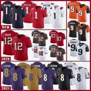 Neu EnglandPatriot 1 Cam Newton BaltimoreRaven 8 Lamar JacksonBuccaneer 12 Tom BradyBengal 9 joe wühlen Fußball Jersey
