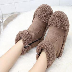 Winter new short boots women plus velvet warm cotton shoes women casual flat-bottomed ankle boots furry snow Q29
