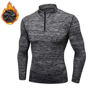 Hommes Quick Dry Cap sweat à capuche Sporting Fitness Tight Rashgard shirt gymming cachemire épais velours plus Runs Veste