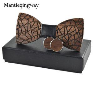Mantieqingway Men's Wood Bowtie Cufflinks Set Brand Business Wooden Bow Tie Neckties Cuff Links for Wedding Groom