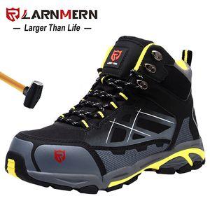 Larnmern Mens Steel Toe Trabalho Sapatos de Segurança Leve Respirável Anti-Smashing Anti-Punctures Anti-Estáticas Botas de Proteção LJ200916