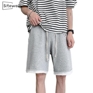SITEWEIE Summer New Fake Two Pairs of Shorts Men's Cotton Shorts Pants Plus Size Loose Solid Color Couples Skateboard Pants L301