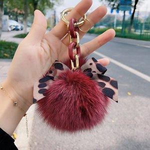 New Arrival Fashion Keychains for Women Girls Plush Ball Leopard Print Bowknot Designer Key Rings Handbag Charm Pendant Christmas Gift