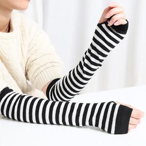 Half Finger Gloves Knitting Driving Protective Sleeves Long Striped Women Fingerless Lovely Mitten Autumn Winter Hot Sale 1 8sm K2