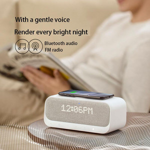 Portable Bluetooth 5.0 Speaker Wake Up Bluetooth Speaker Alarm Clock Stereo Sound FM RadioNoise Qi Wireless Charger