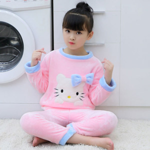 2020 Autumn Winter Kids Clothes Set Boys Girls Children Clothing Flannel Pajamas Thickened Warm Home Cartoon Coral Velvet Suit DHL