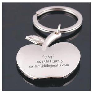 porte-clés Apple, voiture KeyRing étiquettes chien personnalisé badges personnalisés gravés libre avec texte nom et le numéro de téléphone