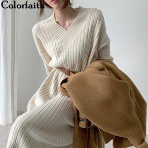 Colorfaith Yeni Sonbahar Kış Kadın Elbise Örme Düz Kore Tarzı Moda Zarif Katı Bayanlar Elbise LJ201202