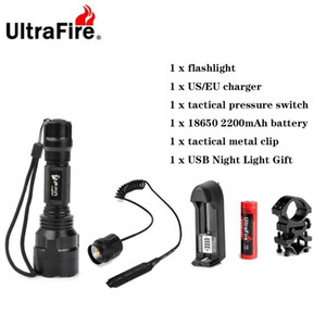 Ultrafire C8 LED Flashlight XML-T6 5 Mode Remote Tactical Flashlight Camping Lantern Flash 18650 Torch Rechargeable Battery 201210