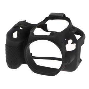 Cámaras Digitales gel del caucho de la cámara cubierta de la caja protectora del cuerpo de la piel bolsa utilizada para Canon 200D Negro