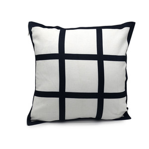 40 * 40 cm Blank Sublimation Pillow Case FAI DA TE Nero 9 Pannelli Grid Transfer Transfer Throw Cushion Cover Home Sofa Decor Pillowcases W-00628