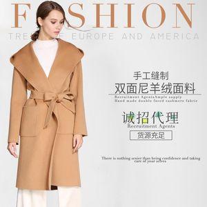 Nouvelle main à double face Pardessus Femmes d'hiver Woollen 2020 Ceinture coréenne à capuchon Croisement Peignoir Type Long Noir 100% de Manteau en laine