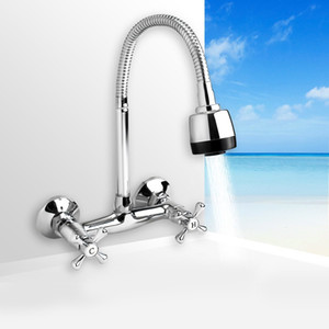 360Rotatable Spout 2 Modes Bathroom Kitchen Basin Faucet Durable Handle Wall Mounted Brass Sink Faucet Tap Water Mixer Taps T200424