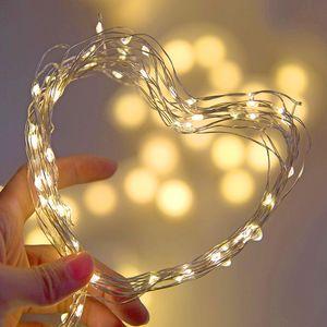 LED String Light Silver Wire Fairy Garland Inicio Fiesta de Navidad Decoración de la boda Powered by Battery Bated USB