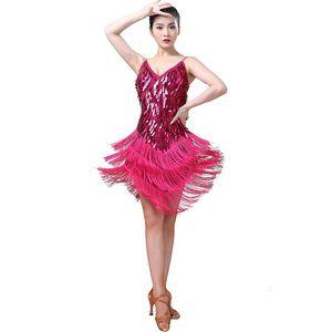 Women Drop Sling Deep V-neck Sequined Dress Multi-layer Fringed Latin Dance Performance Dance Dresses