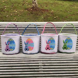 Easter Bucket DIY Basket Cute Bunny Basket Rabbit Cartoon Canvas Storage Bag Easter Gift Bag Egg Candy Totes LLA128