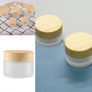 الأزياء صقيع زجاج الجرار مستحضرات التجميل إفراغ حاويات خشب غطاء الحبوب الوجه كريم العين زجاجة سيدة 2 7rx F2