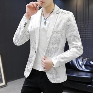 Homens blazers boate menino novo casual terno macho pequeno terno jaqueta coreano anfitrião barber noivo melhor homem