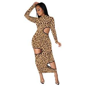Leopard aushöhlen Damen Kleider Sexy dünne Standplatz-Neck Frauen Designer-Kleid-beiläufige Sommer-heiße Verkaufs-Kleidung