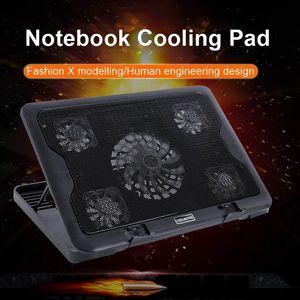 Laptop Cooler Gaming Laptop Cooling Pad Бесшумный Стенд с 5 охлаждающим вентилятором и 2 портами USB для ноутбуков 14-17inch