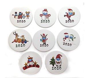 Artificial Ceramics Mug Coaster Christmas Xmas Cartoon Printing Santa Snowman 2020 Round Non Slip Cup Mat Coffee Coasters IIA763