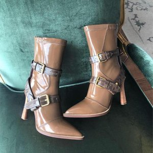New Autumn Winter Patent Leather Boots Woman Stiletto Heels Pointed-toe Woman Shoes Mid-calf Boots Woamn Belt Deocra1