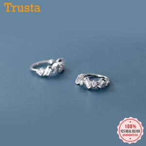 Trustdavis argento 925 Bella Luna brillante CZ dell'orecchio del polsino Clip su orecchini per le donne senza perforare Orecchini gioielli DA929