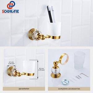 Luxe en cristal d'or salle de bains Accessoires Kit de supports papier Bath Hardware montage mural Savon Sets Holdertowel Railtoilet bbymuK bdetoys