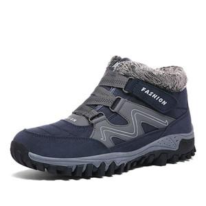 Non Slip extérieur Montagne Chaussures en cuir suédé Femmes randonnée Hommes Bottes Tactical fourrure chaude en peluche Trekking Bottes de neige cheville Chaussures de sport