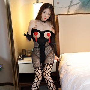 Boudoir Fun underwear Bow Gail с длинным рукавом Шелковые чулки Сексуальный открытый файл Снимите бесплатную веселую чистую одежду