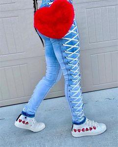 Jeans Azul Mid Cintura con cremallera Mosca Lápiz Lápiz Jeans Ladies High Street Use Women Gradient Vendaje