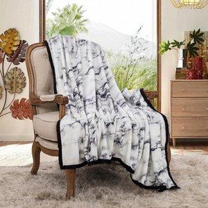 NIOBOMO NOUVEAU 2020 Mode Couvertures de couvre-lits à carreaux de mode pour lit Couverture de haute qualité 3D 100% polyester noir pierre blanche série 7EZ2 #