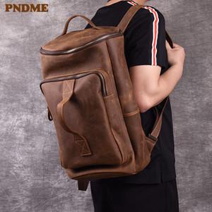 PNDME Vintage Vintage Genuine Pelle Zaino da uomo Semplice Crazy Horse Cowhide Designer Grande capacità Viaggio Bagpack Bookbag di lusso