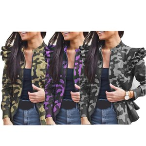 Ladies Ruffle Sleeves Jacket Fashion Trend Splicing Long Sleeve Zipper Coats Designer Female Winter New Camouflage Casual Slim Outerwear
