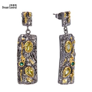DreamCarnival1989 New Gothic Earrings for Women Exaggerated Stone Age Collection Strong Character Olivine Green CZ WE3990