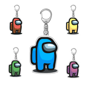 5 styles Hot Games Among Us Keychain Acrylic Colourful Gift Keychains for Car Keys Decoration Accessories 5cm*3cm