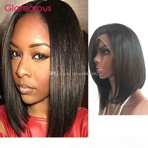 Glamorous Brazilian Human Hair Lace Front Wig Bob Full Lace Wig Wholesale Cheap Price Short Peruvian Indian Human Hair Wigs 8-14In In Stock