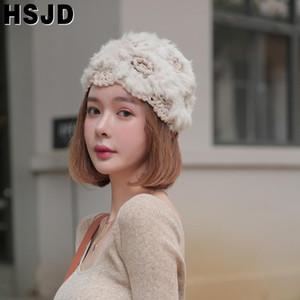Beanie Skull Caps Winter Woman Hat Fur Knitting Flower Beanies Soft Handmade Crochet Skullies Warm Hats For Women Fashion Girls